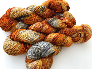 Birch Fire Deconstructed SHAWL LENGTH on 80% Superwash Merino/20% Silk 2-Ply Twist Silken Sock
