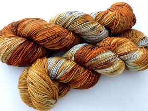 Birch Fire Deconstructed on Superwash 75 BFL/25 Nylon 4-Ply Sock