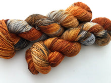 Birch Fire Deconstructed on Silky Single Sock 70 Superwash Merino/30 Silk Single Ply Sock