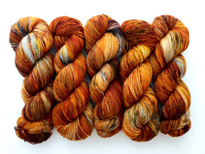 ***EXTREMELY RUSTY/COPPERY Birch Fire Deconstructed  on 80% Superwash Merino/20% Nylon 2-Ply Twist Sock