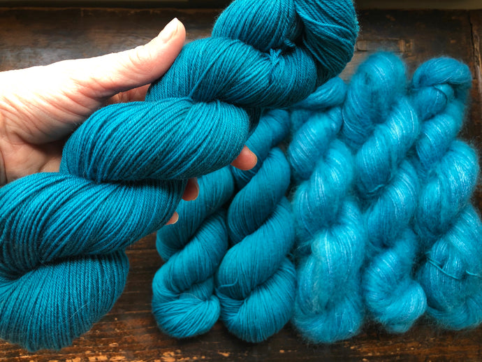 Cerulean Blue Yarn Set on Merino/Nylon Sock & Mohair/Silk Lace