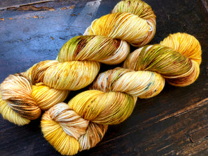 OOAK Dried Flowers on 80% Superwash Merino/20% Nylon 2-Ply Twist Sock