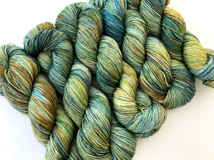 (Witch) Hazel Eyes on Superwash 75% Superwash Merino/25% Nylon Sock
