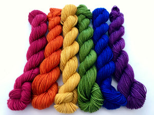 Harvest Rainbow Kettle Dyed Mini Skein Set on 75 Superwash Merino/25 Nylon Sock