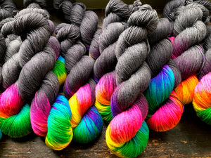 Lite Brite on 100% Superwash Merino Single Ply Sock High-Twist