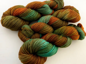 Rusty Copper on 80% Superwash Merino/20% Nylon 2-Ply Twist Sock