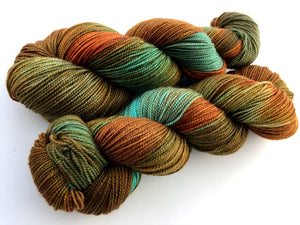 Rusty Copper on 80% Superwash Merino/20% Silk 2-Ply Twist Silken Sock