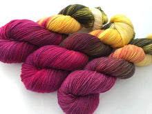 Orchids on 80% Superwash Merino/20% Silk 2-Ply Twist Silken Sock