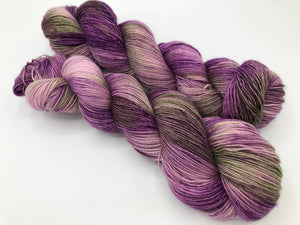 Petunias on 100% Superwash Merino Single Ply Sock High-Twist