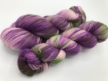 Petunias on Superwash Merino Cashmere Nylon MCN Sock