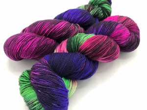 Fractals: ** LESS BLACK** BUTTERFLY EFFECT on Superwash Merino Cashmere Nylon MCN 2-Ply Twist Sock
