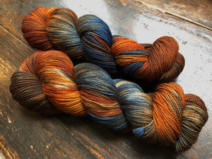 Country Road on 80% Superwash Merino/20% Silk 2-Ply Twist Silken Sock