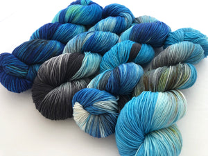25% OFF!! Blue Steel Yarn Set  on 75 Superwash Merino/25 Nylon Sock