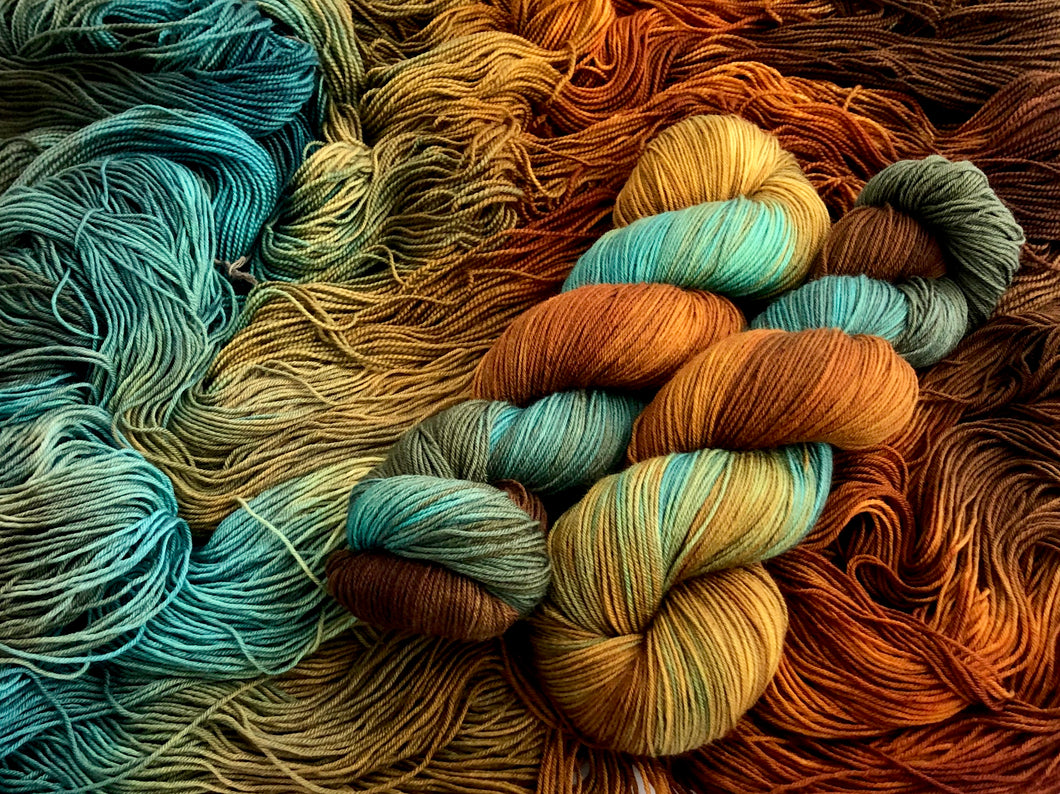 **Fall Fling on Superwash 70% Merino/20% Silk/10% Cashmere Sock
