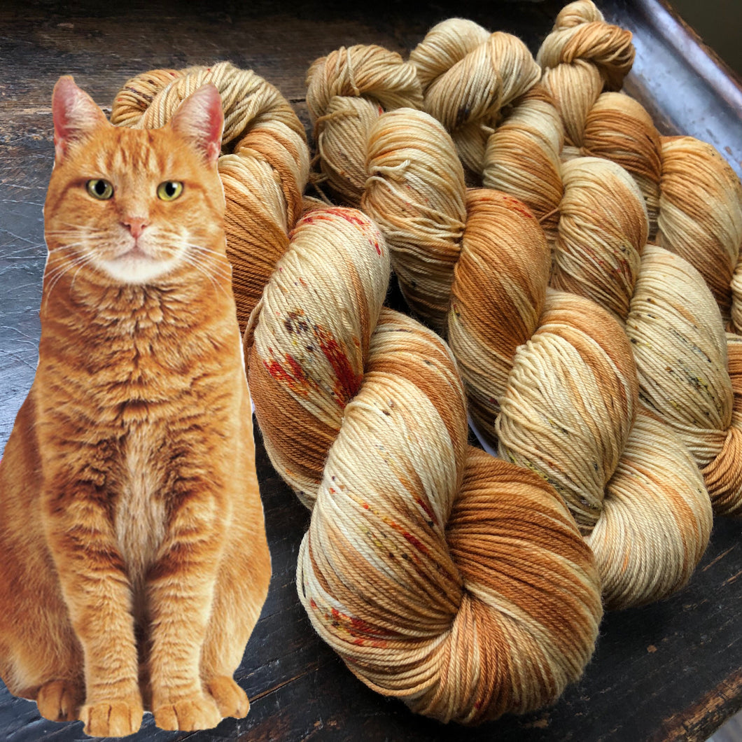 Red Tabby on Superwash 75% Superwash Merino/25% Nylon Sock