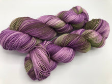 Petunias on Superwash 70% Merino/20% Silk/10% Cashmere Sock