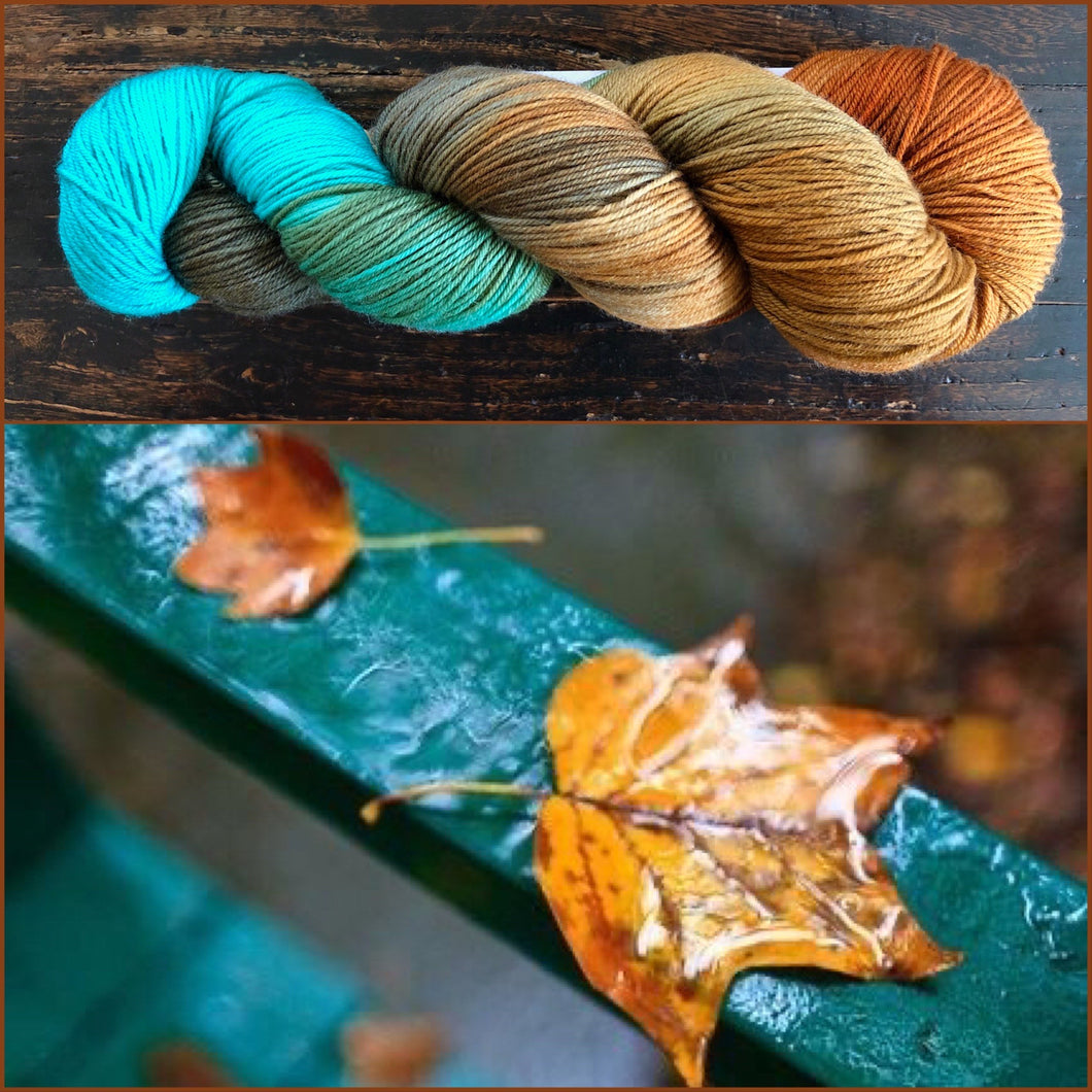 Wet Leaves on 80% Superwash Merino/20% Silk 2-Ply Twist Silken Sock