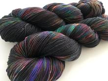 Oil Slick on MOHAIR/merino/nylon blend 4-Ply Sock