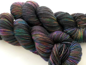 Oil Slick on Silken Sock 80% Superwash Merino/20% Silk 2-Ply Twist Sock