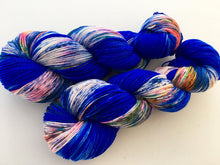 Bleu Electrique on Superwash 75 BFL/25 Nylon 4-Ply Sock