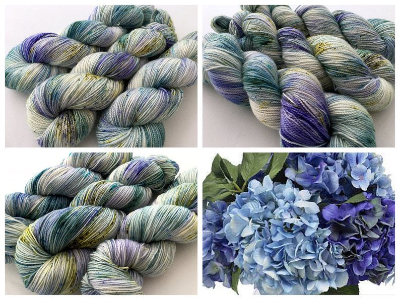 Hydrangea on 100% Superwash Merino Single Ply Sock High-Twist