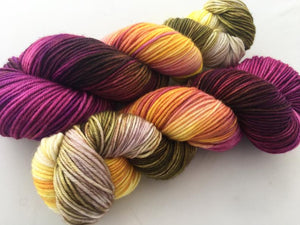 Orchids on 100% Superwash Merino Sport Weight