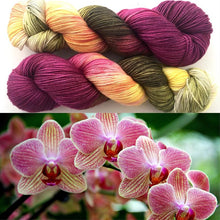 Orchids on Superwash 75% Superwash Merino/25% Nylon Sock
