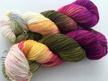 Orchids on Superwash 70% Merino/20% Silk/10% Cashmere Sock
