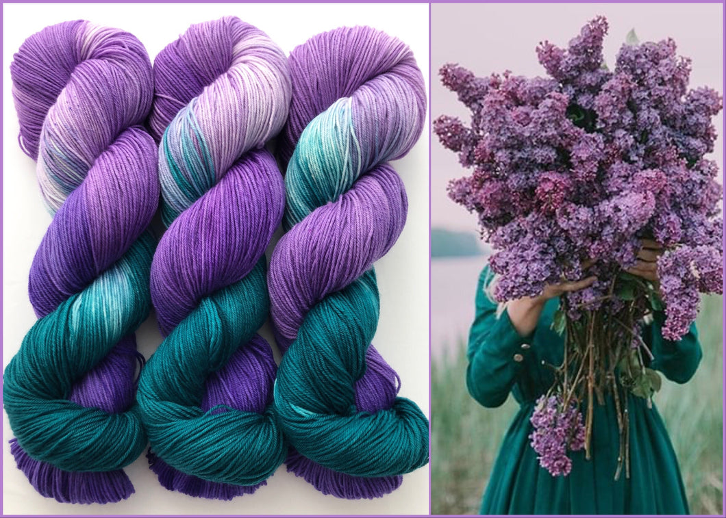 May Day Bouquet on 80% Superwash Merino/20% Nylon 2-Ply Twist Sock