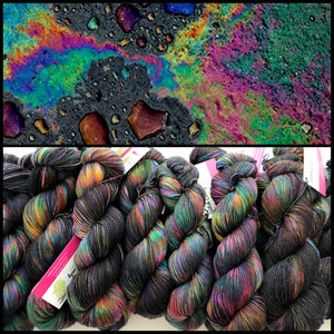 Oil Slick on Superwash 75% Superwash Merino/25% Nylon Sock