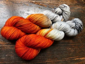 Birch Fire on SILVER SPARKLE Sock