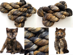 Tortie Kitty on 80% Superwash Merino/20% Nylon 2-Ply Twist Sock
