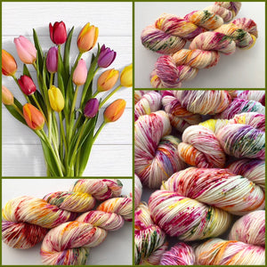 Tulips on 100% Superwash Merino Single Ply Sock High-Twist