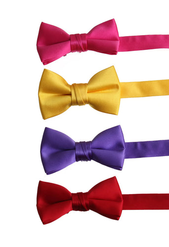 Solid Poly-Satin Bow Ties for Kids and Adults by Tuxedo Park