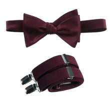 Load image into Gallery viewer, Mens Burgundy Adjustable Self-tie Bow Tie and Suspender Set by Tuxgear Inc