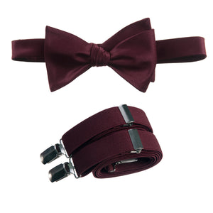 Mens Burgundy Adjustable Self-tie Bow Tie and Suspender Set by Tuxgear Inc