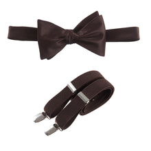 Load image into Gallery viewer, Mens Chocolate Brown Adjustable Self-tie Bow Tie and Suspender Set by Tuxgear Inc