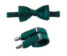 Load image into Gallery viewer, Mens Emerald Green Adjustable Self-tie Bow Tie and Suspender Set by Tuxgear Inc
