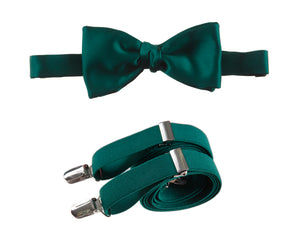 Mens Emerald Green Adjustable Self-tie Bow Tie and Suspender Set by Tuxgear Inc