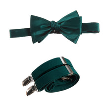Load image into Gallery viewer, Mens Forest Adjustable Self-tie Bow Tie and Suspender Set by Tuxgear Inc