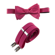 Load image into Gallery viewer, Mens Fuchsia Adjustable Self-tie Bow Tie and Suspender Set by Tuxgear Inc
