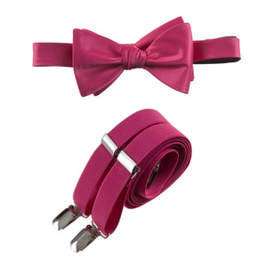 Mens Fuchsia Adjustable Self-tie Bow Tie and Suspender Set by Tuxgear Inc