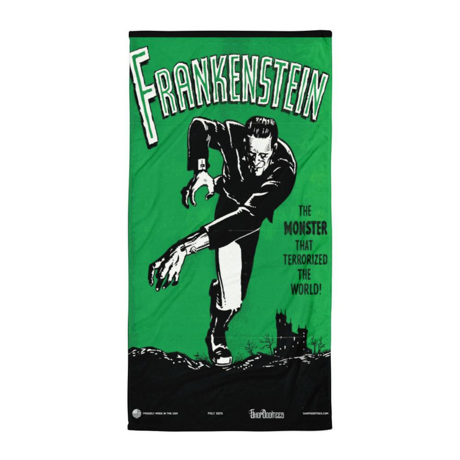 VINTAGE FRANKENSTEIN FULL COLOR SUBLIMATED TOWEL - Deadcelebritee | Subculture Tees