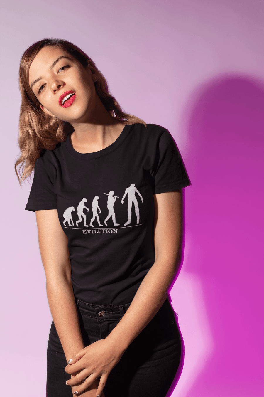 WOMEN'S EVILUTION SHORT SLEEVE TEE - Deadcelebritee | Subculture Tees