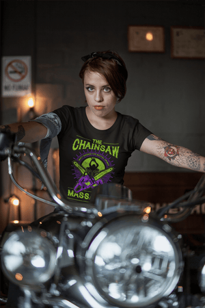 WOMEN'S CHAINSAW SHORT SLEEVE TEE - Deadcelebritee | Subculture Tees