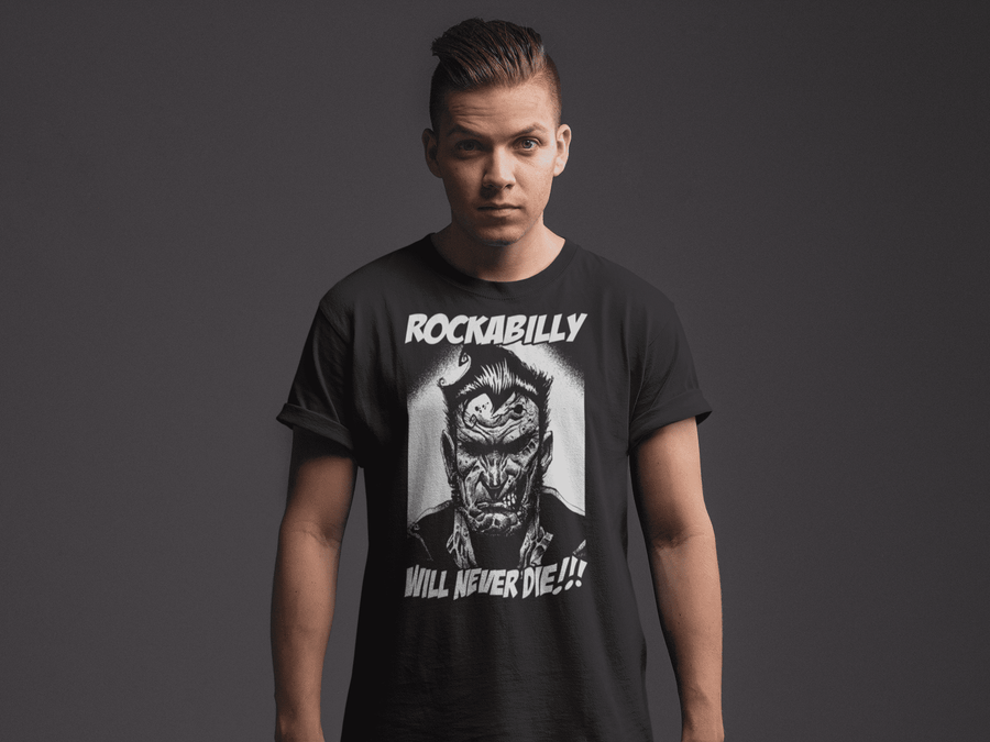 MEN'S ROCKABILLY NEVER DIES SHORT SLEEVE TEE - Deadcelebritee | Subculture Tees