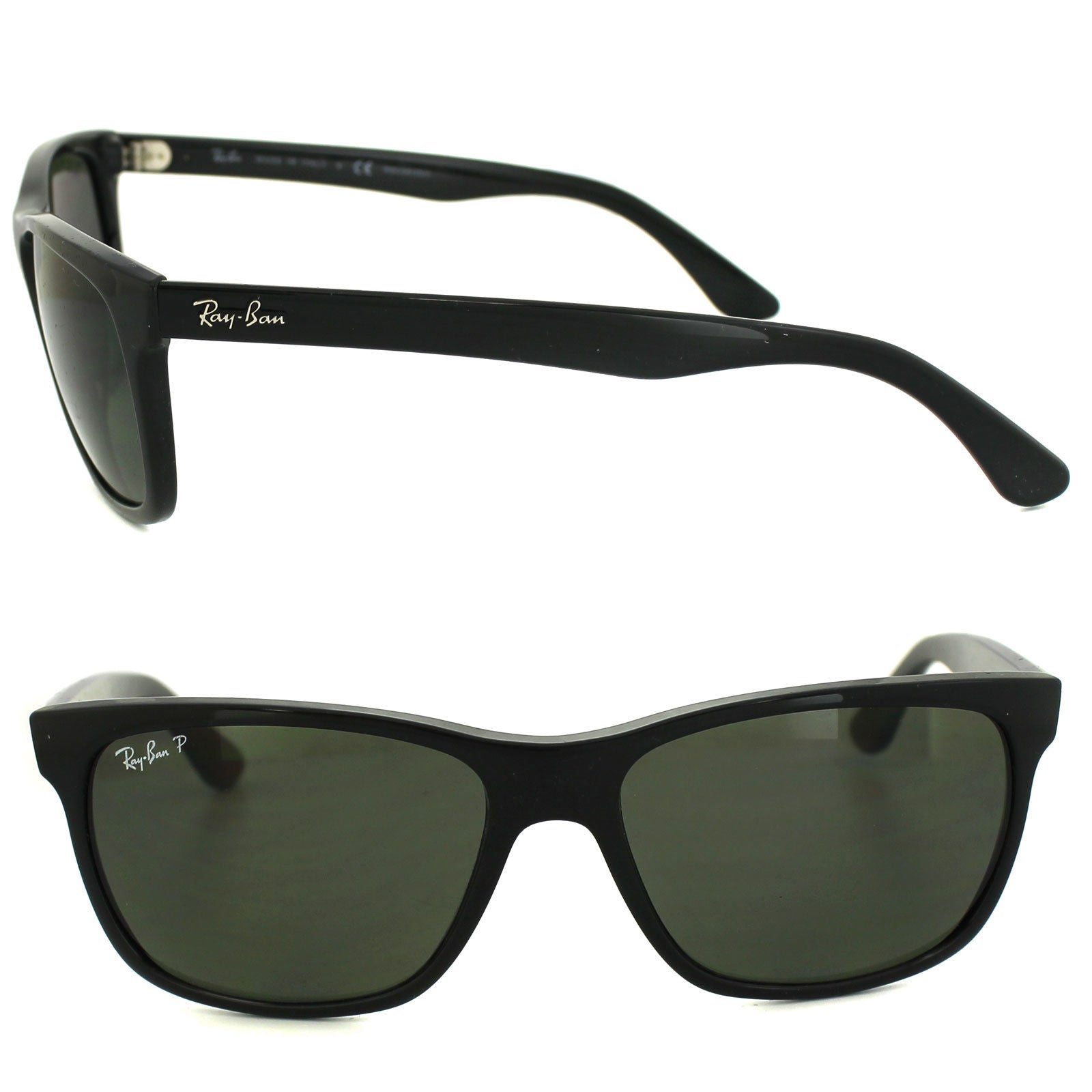 364c16760a ... Load image into Gallery viewer, RayBan Highstreet POLARIZED Sunglasses  Black Green Classic G-15 ...