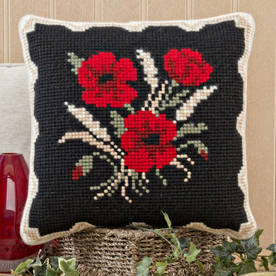 Poppies and Corn Cross Stitch Cushion Front Kit