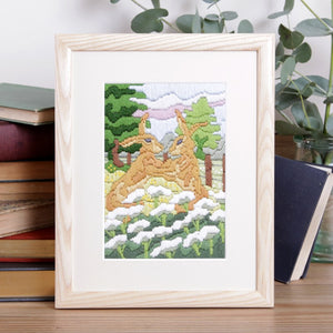 Hares in Meadow Long Stitch Kit
