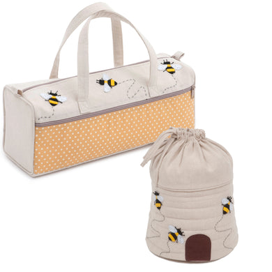 Matching Set ~ Knitting Bag and Drawstring Yarn Holder ~ Bee ~ Appliqué